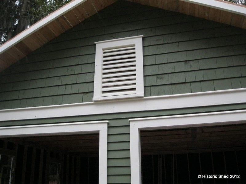 Garage gable vent and shingles