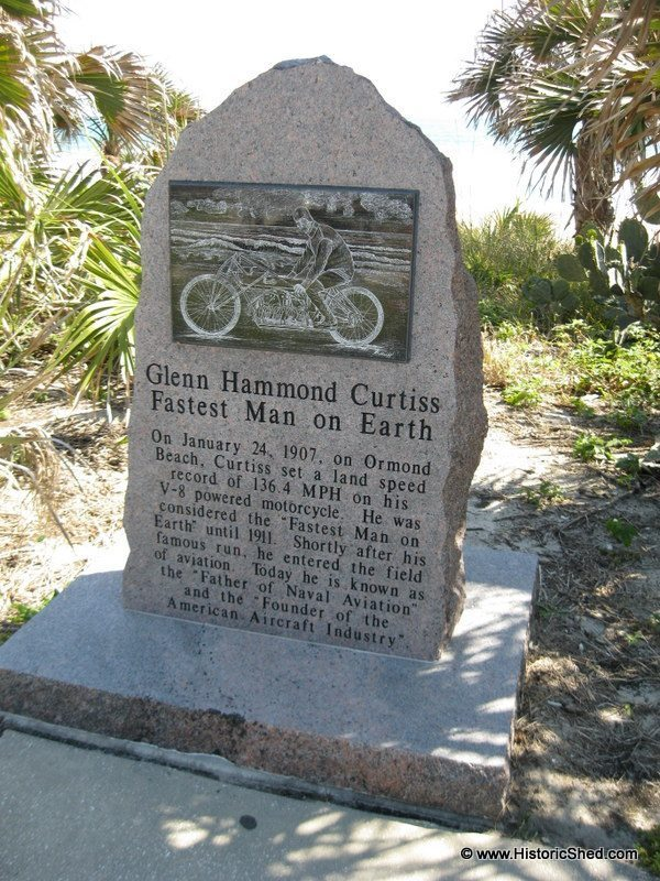 Glenn Hammond Curtiss set a land speed record of 136.4 MPH on his motorcycle on Ormond Beach