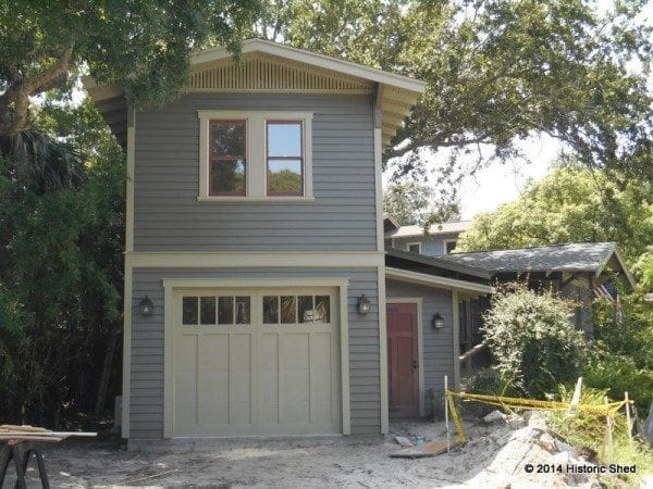 Historic shed goes two story historic shed for Two story metal garage