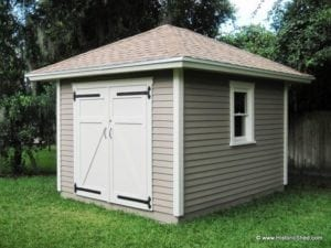 10 39 x12 39 hipped shed w single window historic shed florida for Sheds brooksville fl