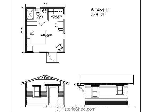 Historic shed cottages tiny houses historic shed florida Guest house layout plan
