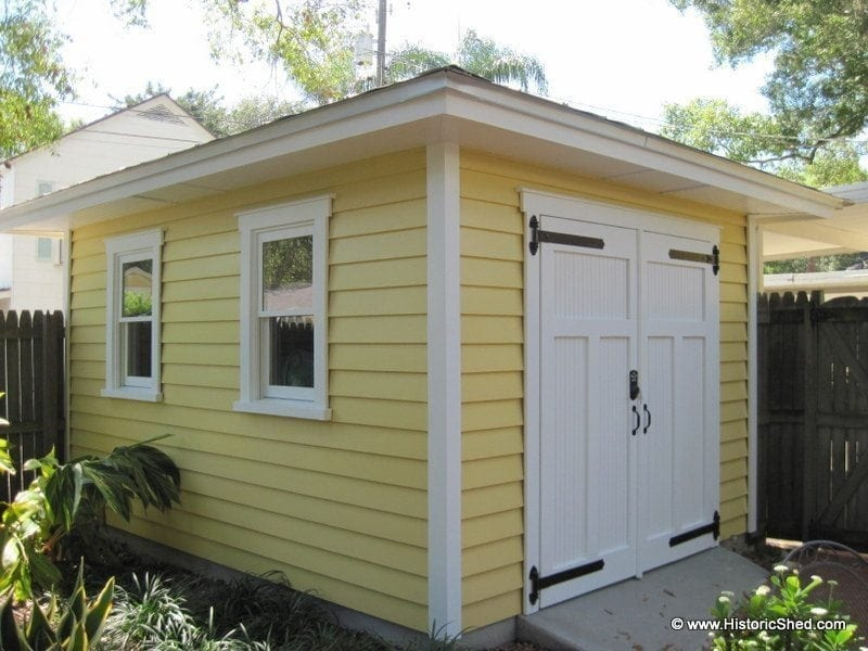 Hipped sheds historic shed florida for Shed roof garage
