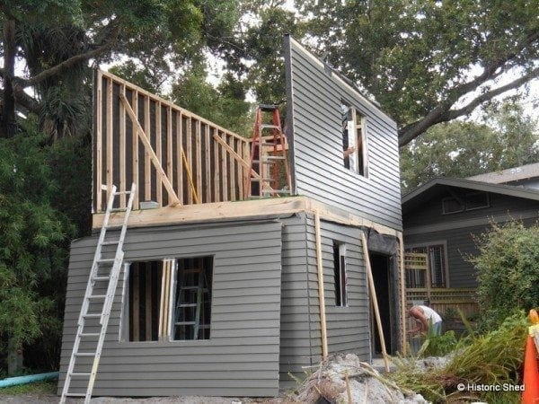 Historic shed goes two story historic shed for Sheds brooksville fl