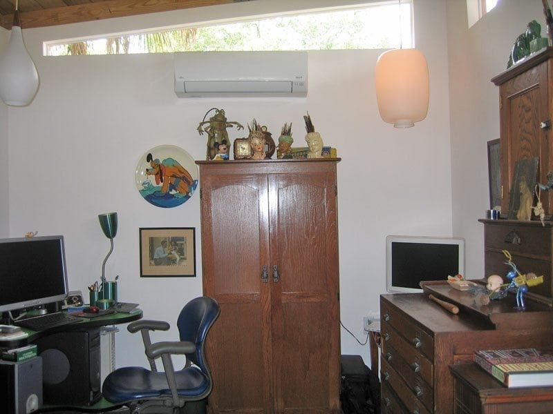 Mini-Split AC unit inside a MiMo Home Office built by Historic Shed