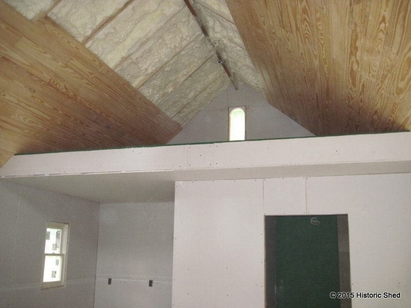 The cottage was insulated with batt insulation on the walls and spray foam on the ceiling and under the floor