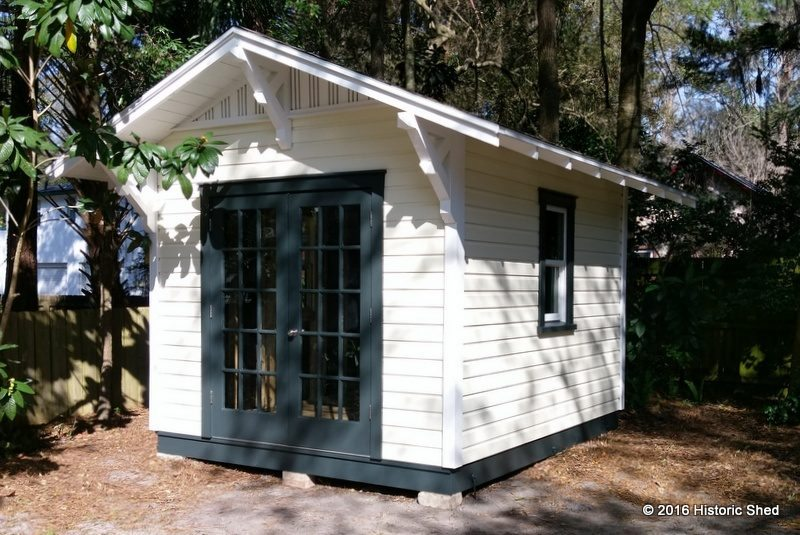 Gainesville custom storage shed with eave brackets
