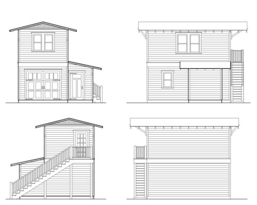 Two-story One-Car Garage Apartment Construction Plans | Historic Shed